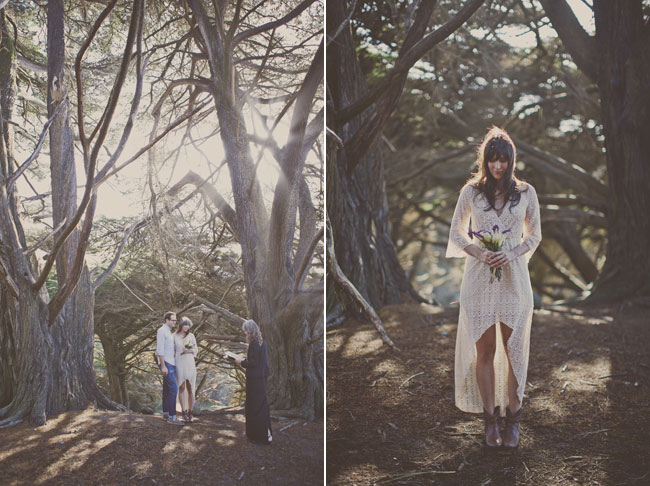 big sur elopement ceremony among trees with backlit sun
