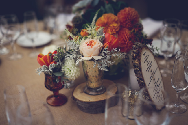 orange dahlia centerpiece