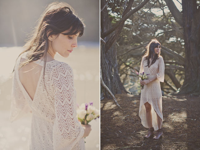 bride dressed in white dress at big sur walking on beach and among trees