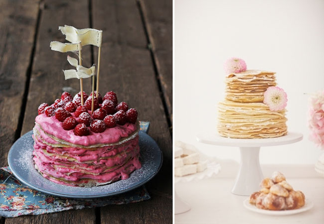 DIY breakfast cakes: rasberry and pancakes piled high
