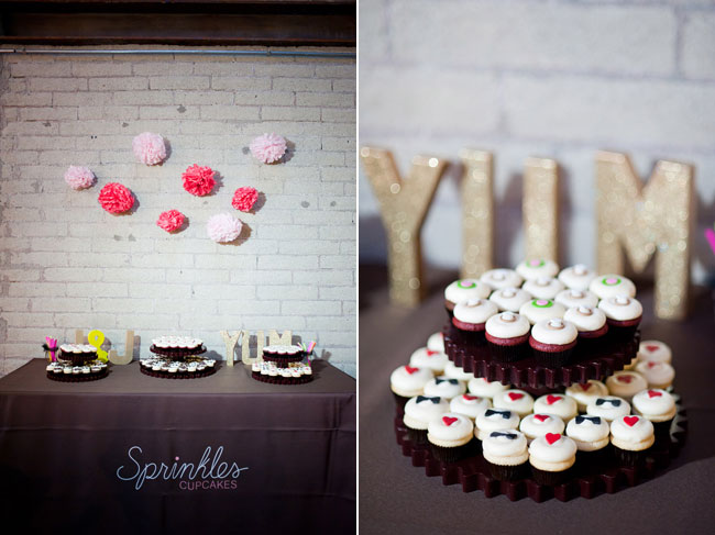sprinkles cupcakes on dessert table