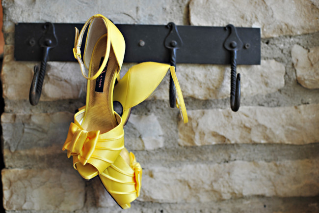yellow shoes hanging