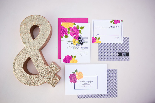 ampersand and flower invitation suite