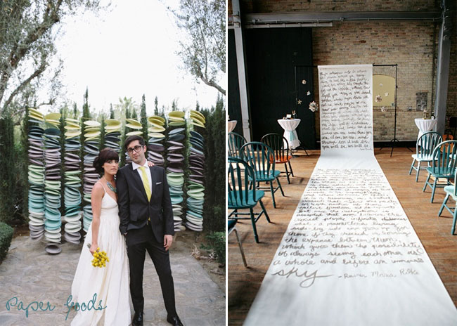 paper plates as wedding ceremony backdrop idea