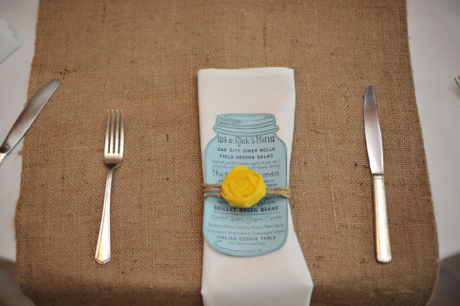 blue and yellow wedding details