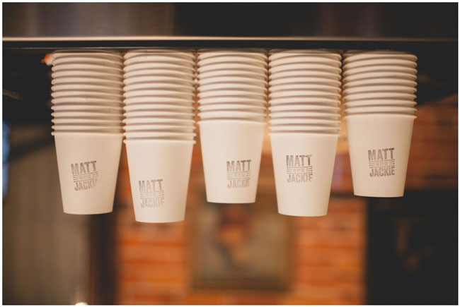 wedding custom stamped paper coffee cups