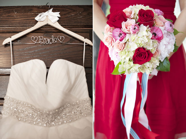 bridal dress and bridesmaid with dark red dress and rose bouquet