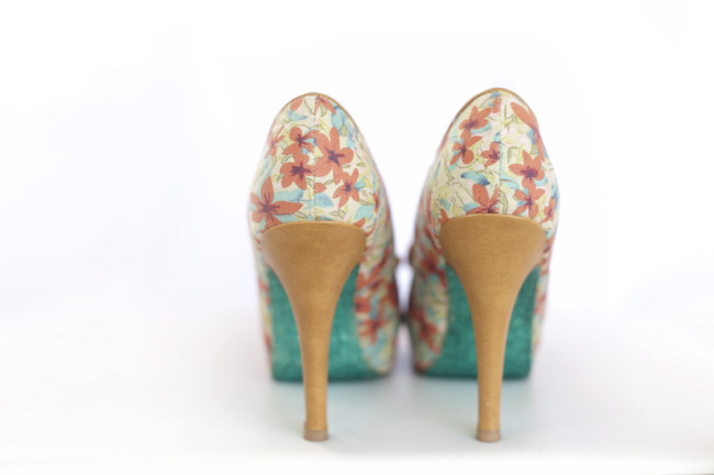flower pattern high heel shoes