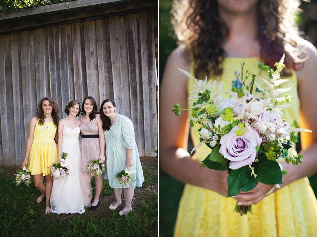 yellow bridesmaid dress holding purple rose flower bouquet