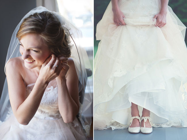 bride getting ready with wedding dress for country farm wedding in Tennessee