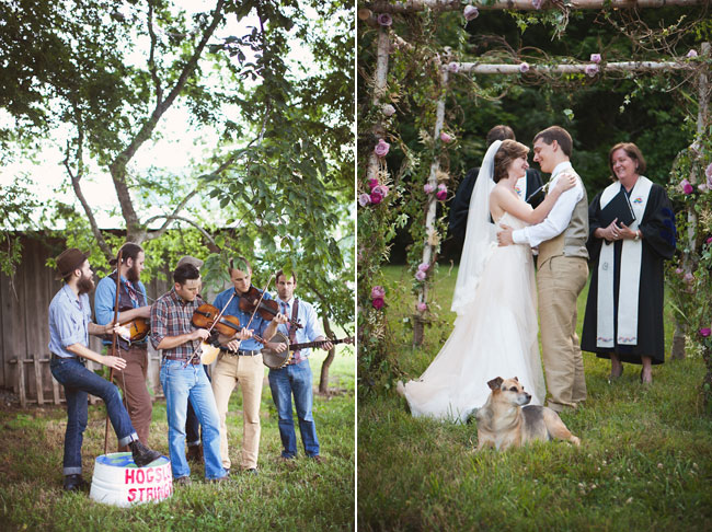 country band playing fiddles at farm wedding in Tennessee