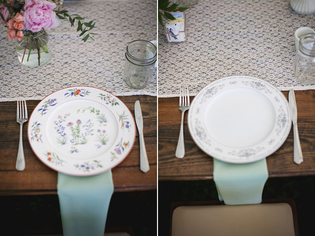 lace wedding reception table cloth with mason jar glass and vintage plates