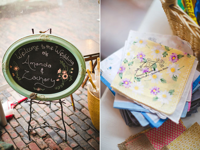 chalkboard sign and personalized flower napkins