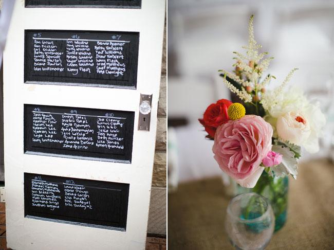 door with chalkboard windows; flowers in vase