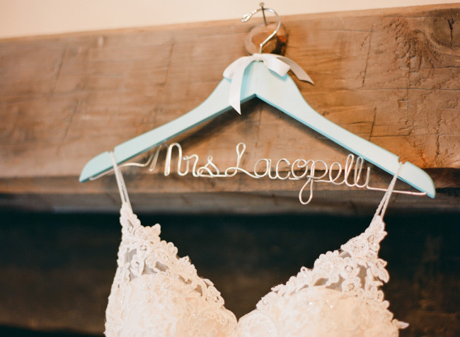 Personalized wedding hanger with dress