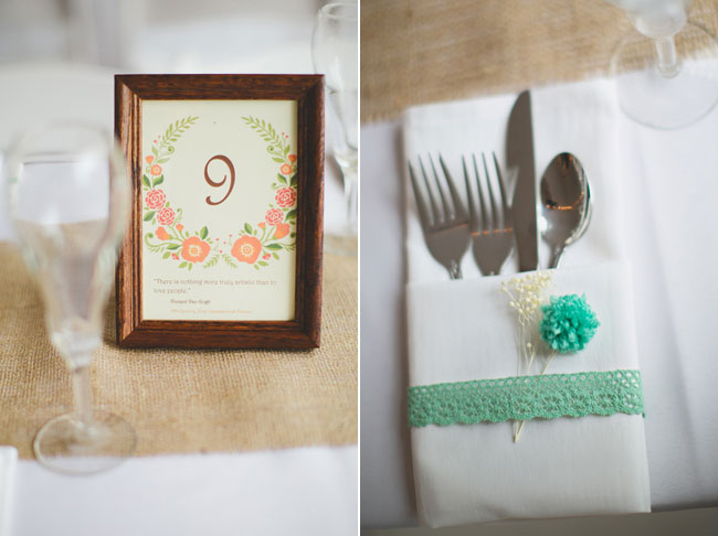 turquoise flower napkin wrap for cutlery