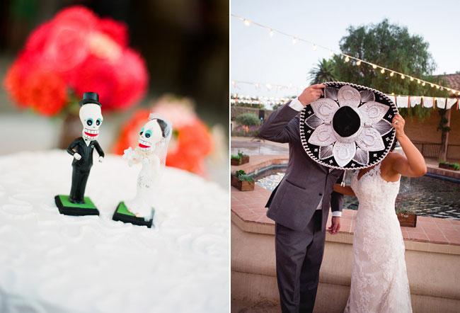 Bride and groom hide their faces behind a sombrero