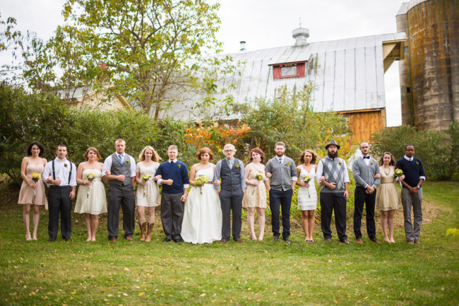 rustic mountain wedding bridal party