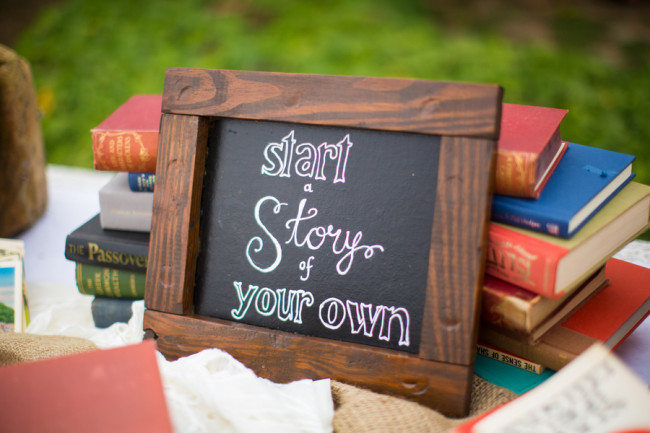 "wedding chalkboard sign ""start a story of your own"""