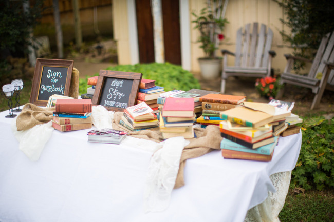 old storybooks on table at wedding