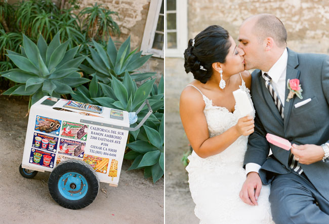 Bride and groom kiss with groom holding ice cream stick