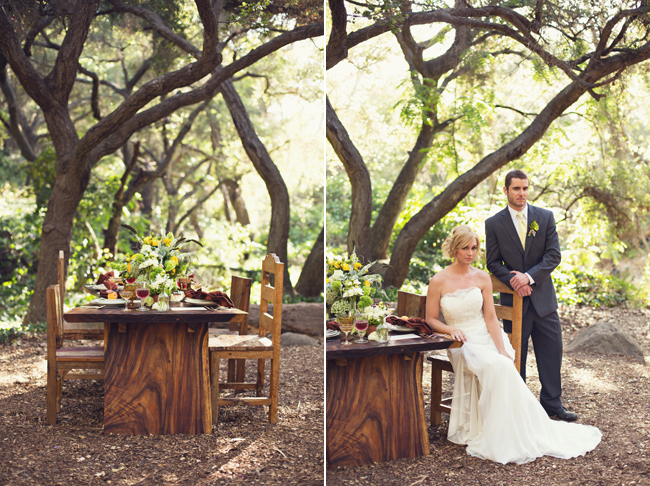 rustic styled shoot furniture in woods at Santa Barbara Museum of Natural History