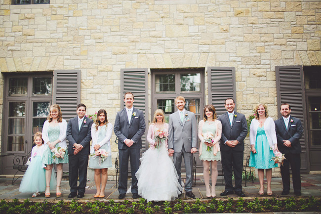 wedding bridal party outside Ewing Manor in Chicago