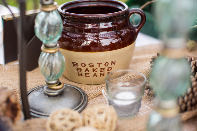 wedding food table with boston baked beans ceramic jar