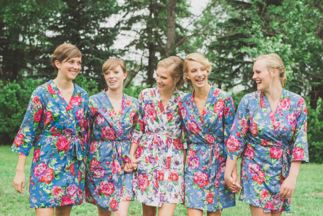 bridal party trying out their robes