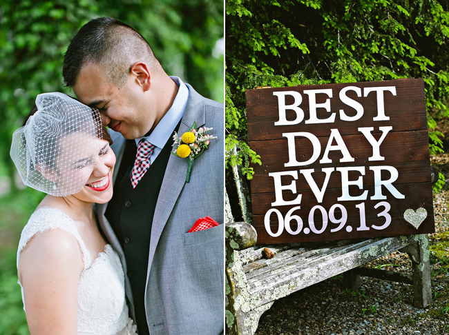 "bride and groom laughing; wooden sign at Nesselrod that reads ""Best Day Ever"""
