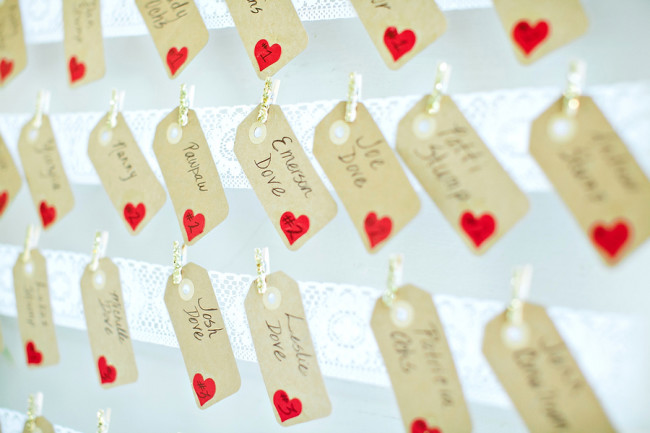 wedding table seating tags with mini gold clothespins