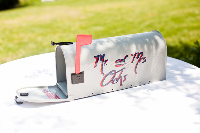 wedding decor mailbox painted with newlywed names