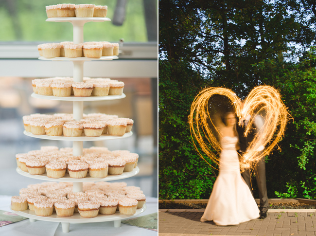 tiered cupcake stand; heart lit up and circling bride and groom