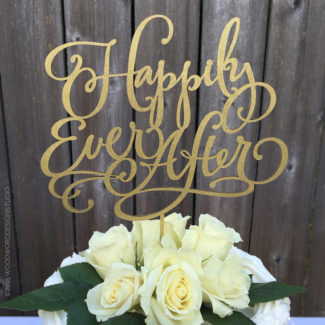 Happily Ever After Word Wedding Cake Topper