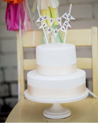 Just Married bunting wedding Cake Topper