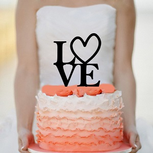 Love Wedding Cake topper Monogram cake topper