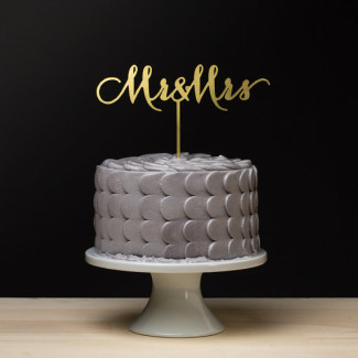 Mr and Mrs Wedding Cake Topper - Gold Metallic- Soirée Collection