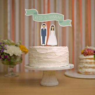 Wedding Cake Topper - Custom Names Cake Topper Banner