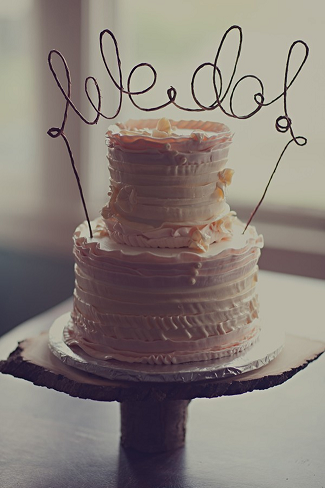Wire wedding cake topper with We do