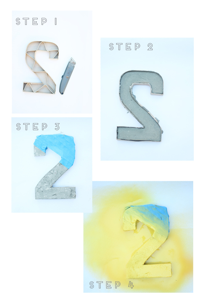 four steps to DIY concrete table numbers