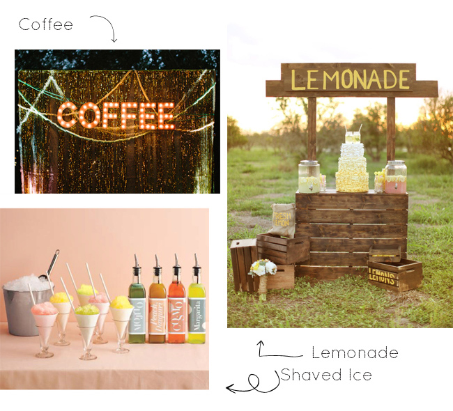 unique wedding drinks including coffee, lemonade, and shaved ice