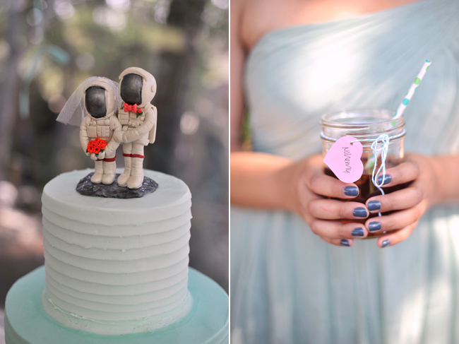 bride and groom astronaut cake topper from CherryRedToppers