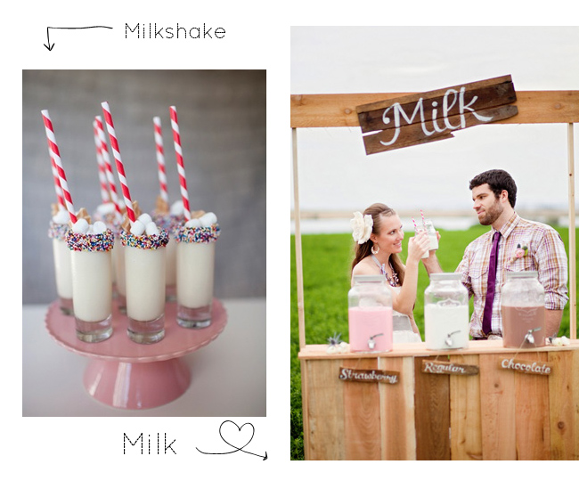 milk and milkshakes at a wedding