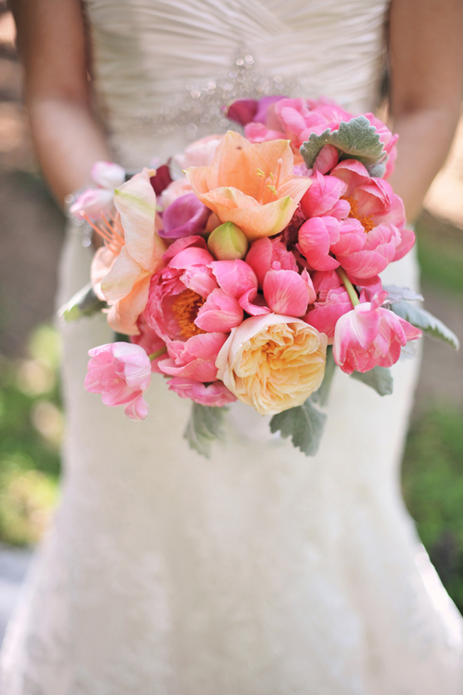 pink and light orange peonies bridal bouquet
