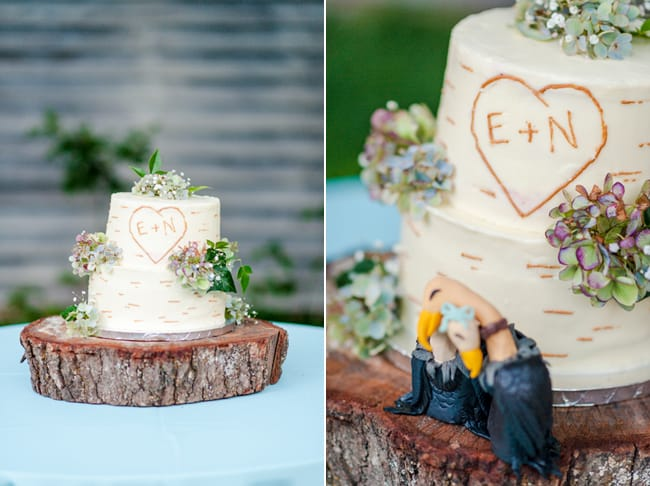 rustic backyard wedding cake on wood round