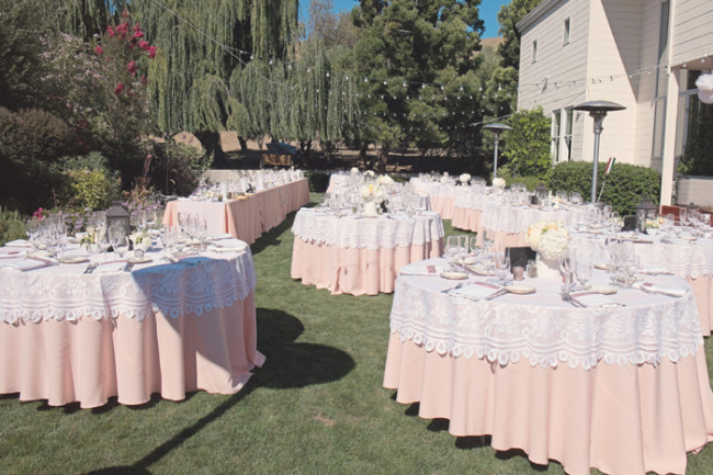 peach and ivory lace tablecloths