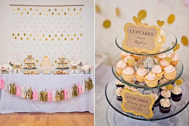 Pink and Gold Wedding themed dessert table with cupcakes
