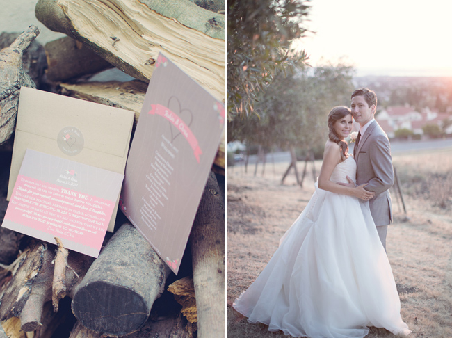 wedding stationary on wood logs: Robyn and Chris
