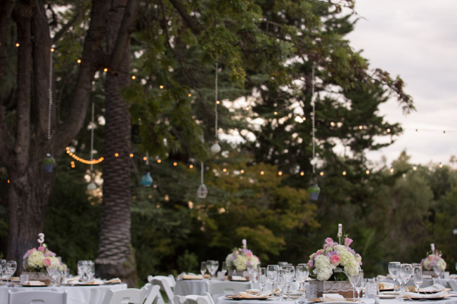 outdoor reception for wedding at Palmdale Estates