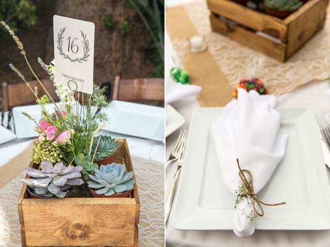 planter box table number with succulents